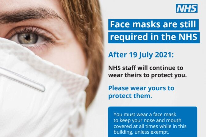 Face Covering & Social Distance remain in the Surgery